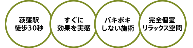荻窪駅徒歩30秒・すぐに効果を実感・バキボキしない施術・完全個室リラックス空間